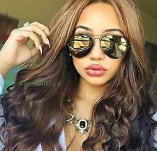 Big Sexy Black Metal Aviator Bronze Gold Mirror Flash Lens Large Sunglasses 3480