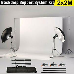 Adjustable Photo Backdrop Support Stand KIT Studio Background White Screen + Bag