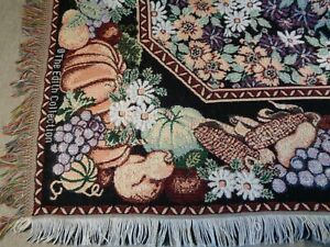 "Vtg Goodwin Weavers Tapestry Woven Throw Blanket 58"" X 49"" Fall Pumpkins Floral"