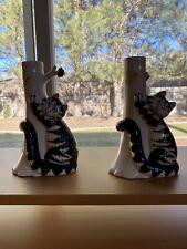 Vintage 1970s B Kliban Cat Pair Of Ceramic Candle Stick Holders