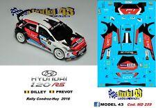 DECAL  1/43 -  HYUNDAI i20  R5  - DUVAL  - Rally  CONDROZ-HUY  2016