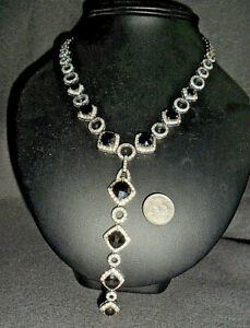 925 Sterling Silver Stunning Black & White Diamond Lariat Style Necklace ~ 57g