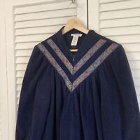 Vintage VANITY FAIR Navy Blue Velour Velvet Housecoat Robe Womens MEDIUM USA