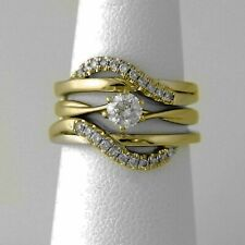 14K Gold Over Solitaire Enhancer 0.90 CT Ring Wrap Wedding Band & Matching Set