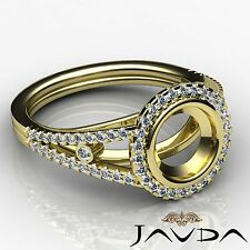 0.8Ct Diamond Engagement Ring Round Semi Mount Halo Prong Set 14k Yellow Gold