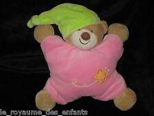 Doudou Grelot Hochet Ours marron rose avec bonnet vert Nattou Jollymex Papillon