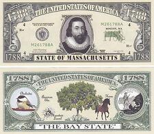 Massachusetts MA State Quarter Novelty Money Bill # 106