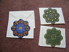 Set 3 Handmade Greeting Cards Art of Teabag Folding Blank Green Purple NICE