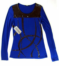 Apriori Shirt 38 Longshirt langarm blau Viskose Top Pailletten neu mit Etikett