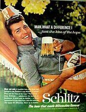 1961 Schlitz Beer Can Man in Hammock Photo Art Print AD