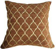 Wd24Ba Gold on Brown Damask Chenille Check Throw Cushion Cover/Pillow Case *Siz