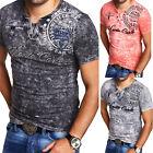 G.B.D. Herren V-Neck T-Shirt Slim Fit Poloshirt Kurzarm Blau/Schwarz/Grau NEU