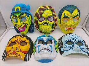 6 Vintage Halloween Masks Vacuform Plastic Etc NEW OLD STOCK 1980S