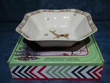 "Spode Jubilee Reindeer 9"" Square Deep Salad / Serving Bowl New & boxed"