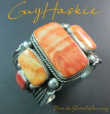 Navajo-GUY HOSKIE-Bold Colorful-Orange Spiny Oyster-Vintage Revival 925 Cuff