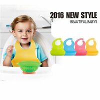 Adjustable Soft Plastic Baby Feeding Bib Neck Catch 4 Color to Choose
