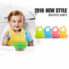 Adjustable Soft Plastic Baby Feeding Bib Neck Catch 4 Color to Choose
