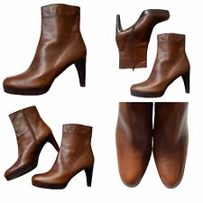 🌟Stuart Weitzman Size 7 40 Brown Leather Platform Ankle Boots Booties Womens
