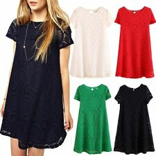 Lace Crew Neck Patternless Tunic Dresses for Women