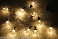 10 Silver LED Retro Bulb String Lights Wedding Party Home Decor Fairy Xmas Bulbs