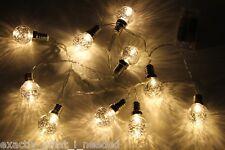 10 Silver LED Retro Bulb String Lights Wedding Party Home Decor Fairy Xmas Bulbs