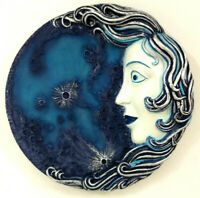 Moon Celestial Wall Hanging Plaque Luna Lady Face Art Blue Silver Painted Decor