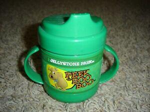 Kid friendly 2 handle sippy cup green Peek a Boo Boo Bear Jellystone Park Yogi