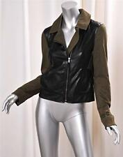 ELLA MOSS Womens Faux Leather Color Block Black+Green Motorcycle Jacket S NEW