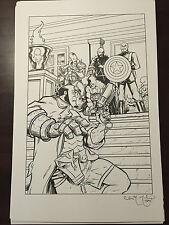 Hellboy vs Red Skull 11x17 Full Size Illustration Original Art Chris McJunkin