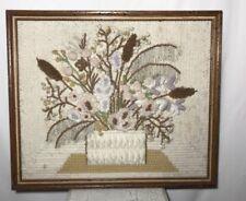 """Vtg Art Crafts Stumpwork Picture Framed 23"""" X 20"""" Tan Browm Flower Basket 3D"""