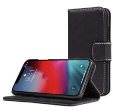 iPhone X Case, Snugg Blackest-Black Leather Flip Case [Card Slots] Executive...