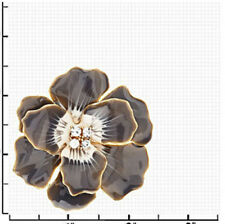 JOAN RIVERS CLASSICS COLLECTION PRIMROSE ENAMEL & FACETED CRYSTAL FLOWER BROOCH