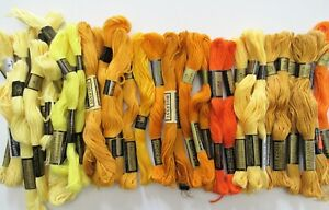 Vtg Coats Cotton Embroidery Floss - YELLOW, Gold & ORANGE - JP Coats Six Strand