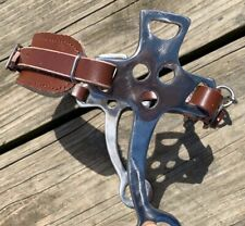 Western/English hackamore bit brown leather w/fleece lined nose