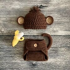 Newborn Baby Boy Monkey Hat and Diaper Cover With Stuffed Banana Photo Prop