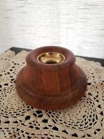 """Vintage MCM - Dansk 6"""" Teak Brass Wood Candle Holder IHQ Large Jens Quistgaard"""