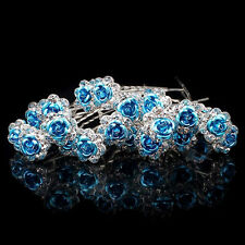 20PCS Women Bridal Wedding Hair Clip Crystal Rose Flower Hair Pin Accessory Chic