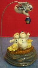 "Vintage Star Light, Snow Bright Musical Snowman Nativity Roman Inc Ceramic 8"" T"