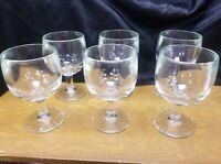Set of 6 Vintage Beer Clear  Heavy Stem Glass Goblets
