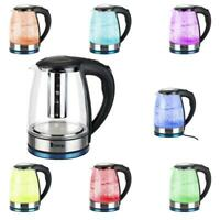1.8L BPA-free Material Electric Glass Hot Water Kettle Colourful LED Light 1500W