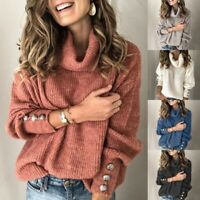 Women Pullover High Neck Sweater Ladies Long Sleeve Solid Warm Jumper Knit Tops