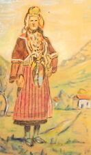 Vintage impressionist pastel painting portrait woman with folk costume