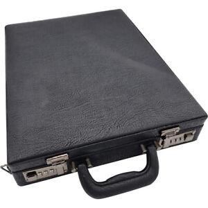 Professional Unisex Leather Executive Black Briefcase & Combination Locks