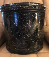 Vintage Mid Century Pearl Wick Hamper Shiny Black Vinyl w/ Atomic Gold Sparkles