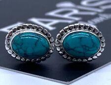 Beautiful Designer 925 Sterling Silver Turquoise Oval Earrings Studs Gemstone