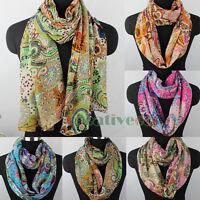 Women Vintage Paisley Floral Flower Print Chiffon Long Shawl/Infinity Loop Scarf