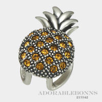 Authentic Lori Bonn Sterling Silver Pineapple Princess Slide Charm 213342