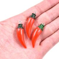 5PC 3D Red Cayenne Pepper Resin Charm Pendant 43*11mm For DIY Earrings/Necklace