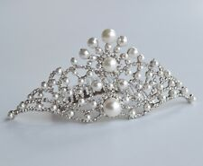 Silver plated ivory pearl & clear crystal/diamante tiara comb. Wedding/Bridal UK
