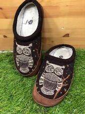 Acorn Womens Forest Owl Mule Slippers Brown Boiled Wool Suede Fleece Lined 5-6
